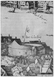 The Second Globe Theatre, ca. 1647, Hollar's Long View of London